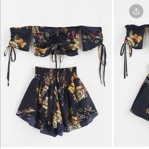 Navy Blue Floral Set